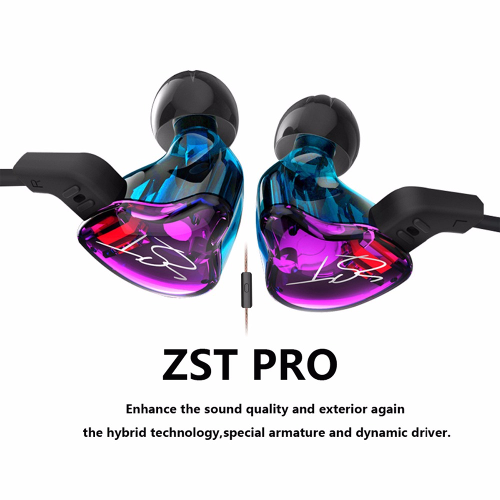 New KZ ZST Double Dynamic Earphone Two Unit Driver DIY HIFI Bass Subwoofer with Mic  Detachable Audio Cable Cable fone de ouvido original senfer pt15 flat earburd earphone graphene dynamic driver unit hifi earplug with mmcx interface replaced line headsets