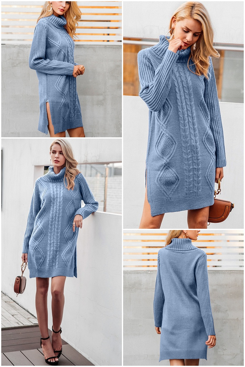Simplee Turtleneck high split knitting pullover Autumn winter long sleeve leisure sweater dress women pull streetwear jumper 10