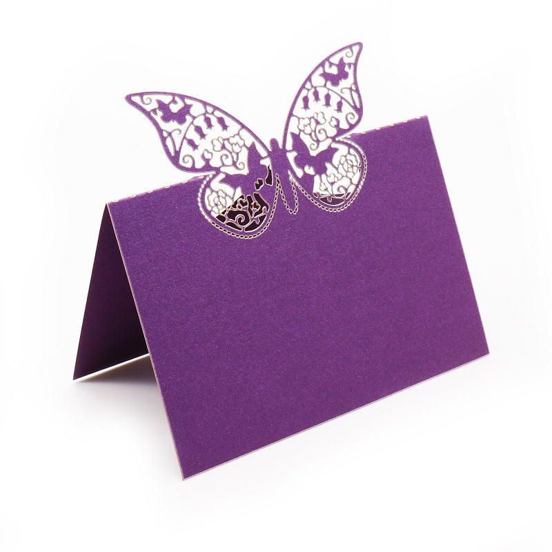 Wholesale Wedding Supplies 50pcs Banquet Name place cards Restaurant Table number cards Butterfly shape Invitation cards