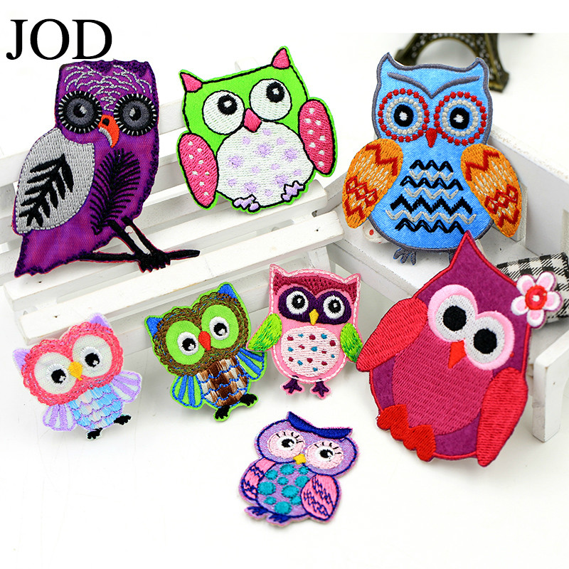 JOD  Owl Fabric Applique DIY Embroidery Brand Patches for Clothing,kids,jacket,dress,Cloth Stickers Iron on Sew Bird Patch