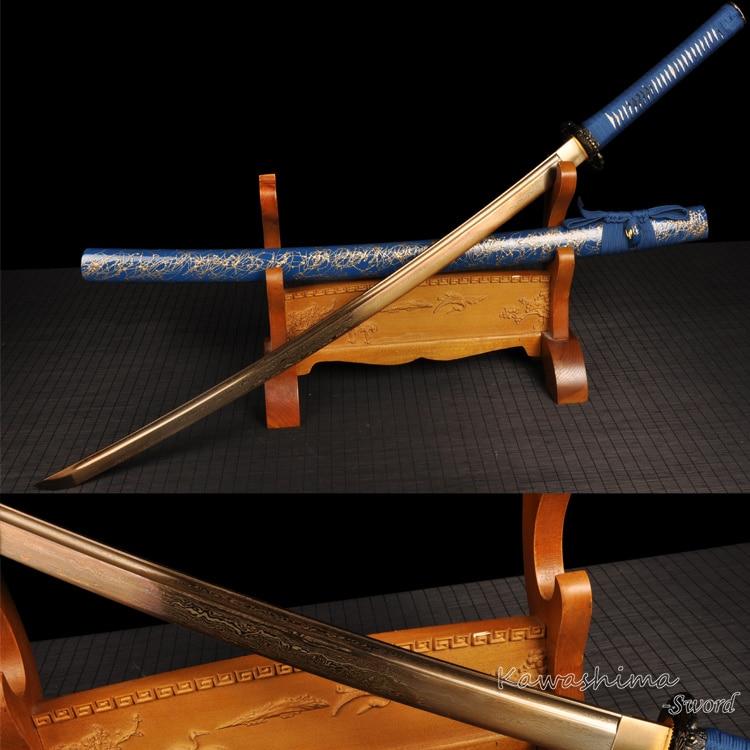 Gold Klinge japanische Katana Fantasy Schwert handgeschmiedet gefaltete Stahl blau Holzscheide Full Tang Schärfe bereit