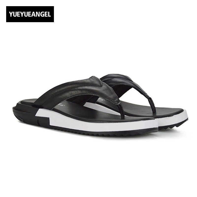 Fashion 2018 New Mens Casual Genuine Leather Flips Flops Sandals Thick Plaform Big Size Black White Beach Slippers Male Shoes