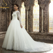 Bealegantom New Long Sleeves Lace Wedding Dresses 2017 Beaded Appliques Plus Size Bridal Gowns Vestido De Novia QA1132