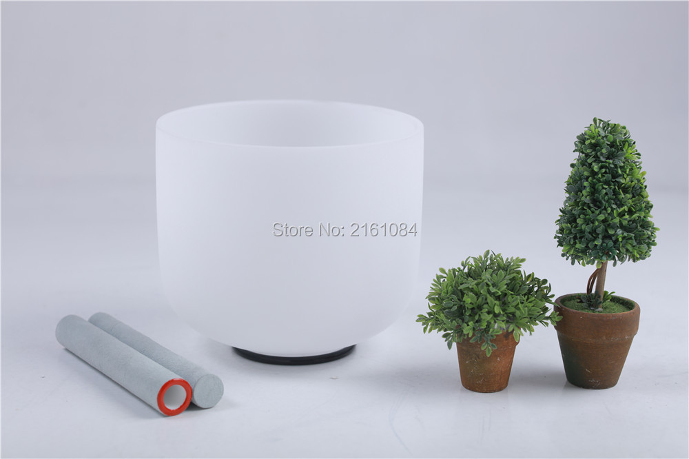 432 Hz Pitch C Root Chakra Frosted Quartz Crystal Singing Bowl 12 with free suede and o ring