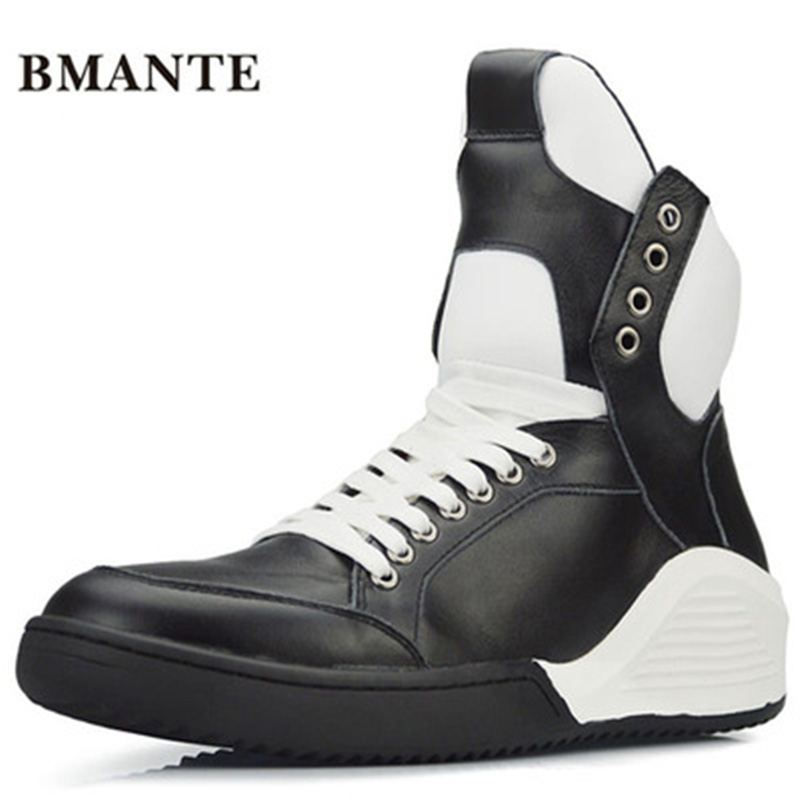 Mixed Colors Flats Spring Black Shoes Men Owen Shoes Trainers Lace-Up Zip Sneaker Genuine Leathe Male High Top Ankle Boots spring autumn high quality patchwork future leather high top men casual shoes lace up mixed colors flats ankle wrap mens shoes