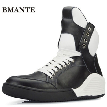 Mixed Colors Flats Spring Black Shoes  Men Owen Shoes Trainers Lace-Up Zip Sneaker Genuine Leathe Male High Top Ankle Boots