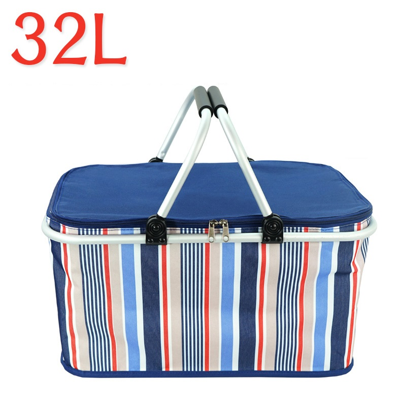 32L Quick Folding Cooler Bag Aluminum Alloy Frame Thermal Insulation Car ice pack Picnic Food Refrigerator Oxford Cooler bags