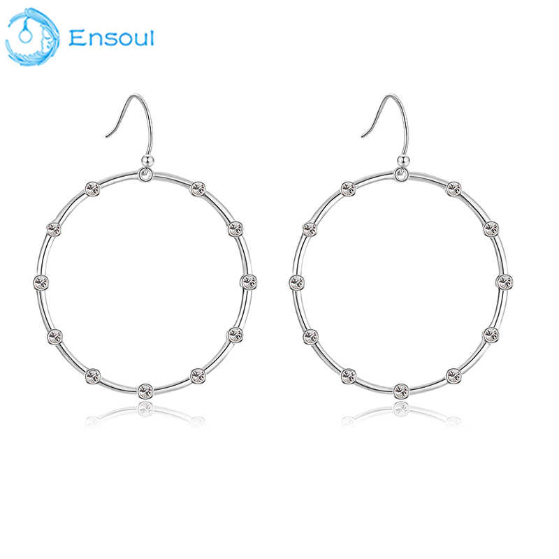 ENSOUL Newest Earring Eardrop Round Shape Metal For Girl Women Birthday Gift Fashion Elegance Classic Copper Alloy For EER-0392
