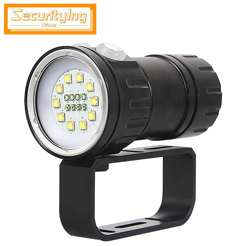 SecurityIng QH18 lampe de poche de plongée sous-marine 120 W 12000 Lumen LED lampe de poche de plongée 80 m lumière de plongée pour la lumière de remplissage vidéo