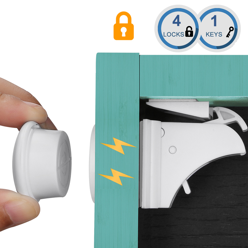 Image 2 - 10Locks 2 keys Baby Safety Magnetic Locks Set Child Kids Protection Cabinet Door Drawer Locker Security Cupboard Childproof Lock-in Fridge Magnets from Home & Garden
