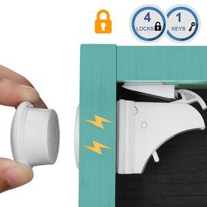 Image 2 - 10Locks 2 keys Baby Safety Magnetic Locks Set Child Kids Protection Cabinet Door Drawer Locker Security Cupboard Childproof Lock