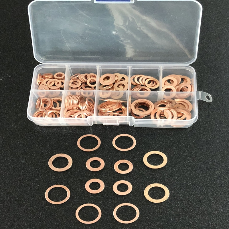 200pcs 9 Sizes Copper Washers M5-M14 Copper Gaskets Set Flat Ring Seal Kit Set With Plastic Box For Machinery Equiment