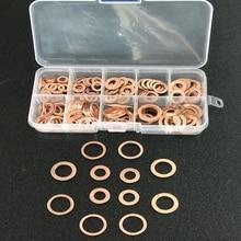 200 шт. 9 размеров медные шайбы M5-M14 медные прокладки набор плоское кольцо комплект уплотнений с пластиковой коробкой для оборудования Equiment