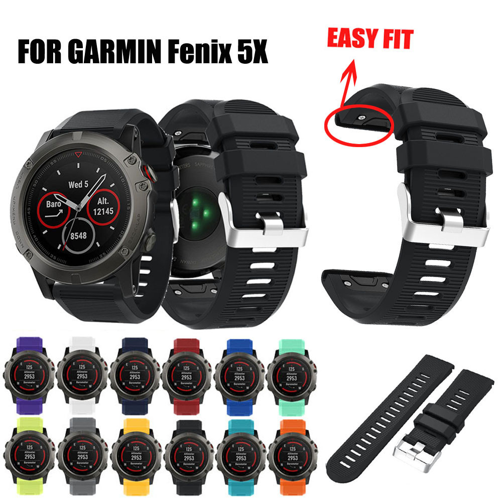 Watch Strap 26mm Replacement Silicagel Soft Quick Release Kit Band Strap For Garmin Fenix 5X GPS Watch Watchbands 2018 Hot Sale 22mm woven nylon strap replacement quick release easy fit band for garmin fenix 5 forerunner935 approach s60