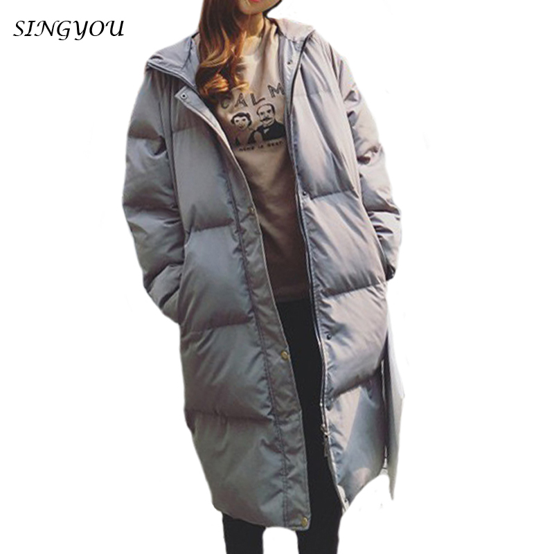 SINGYOU Winter Coat Women Retro Long Sleeve Fashion Hooded Loose Bread Female Outwear Zipper Thick Warm Parka Oversize Jacket