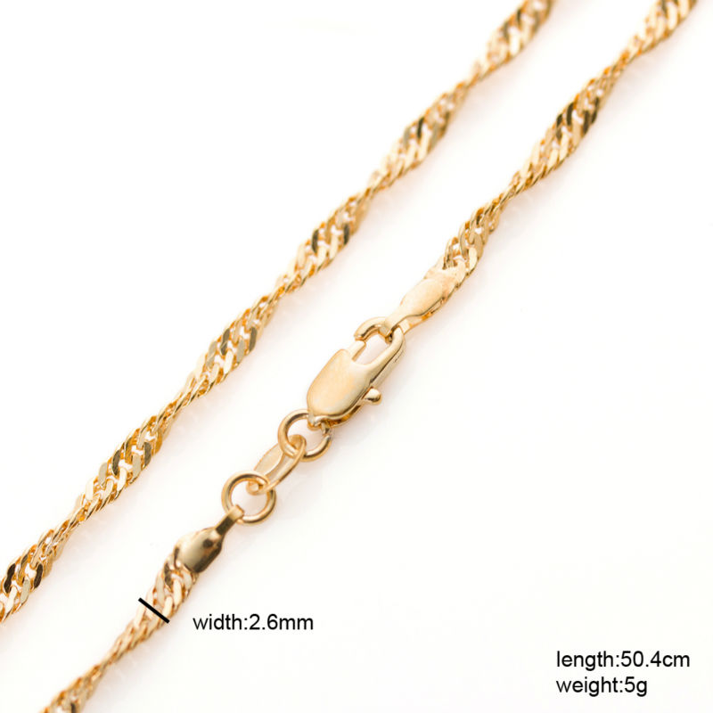 Classic water wave chain plated female necklace high quality