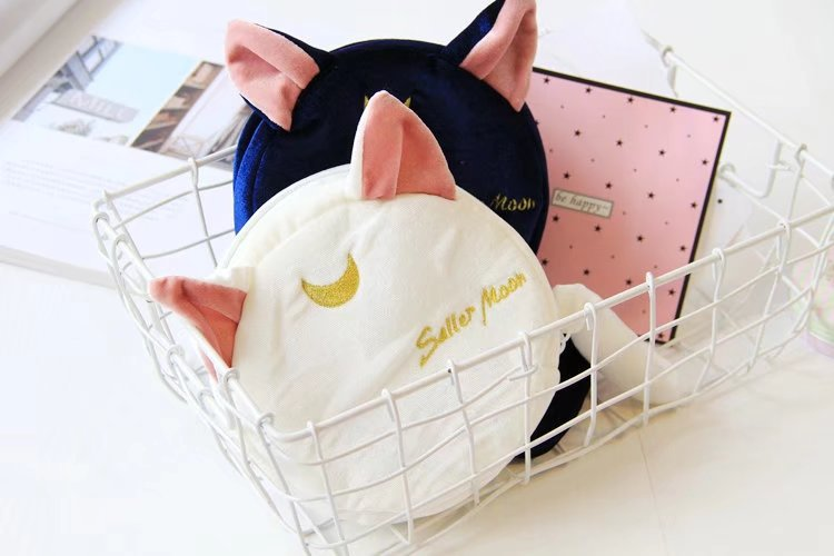 anime card captor sakura sailor moon plush luna cat cosmetic Makeup Bag bag pouch costume
