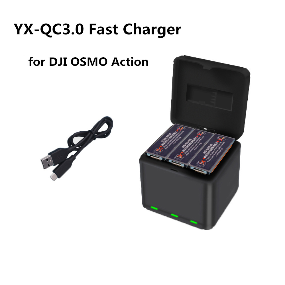 YX QC3.0 Fast Charging One Drag Three Charger Storage Type Charging Box For DJI OSMO ACTION Sports Camera Lithium Battery