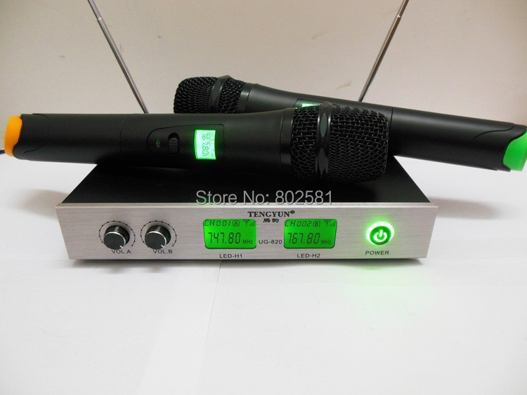 UG-820 Profession 2 channels Wireless Microphone System for Stage Performance, Singing, Meeting, Karaoke at home, Speech, church