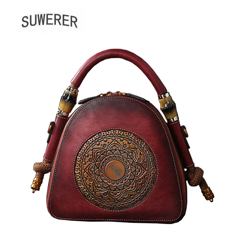 купить SUWERER 2018 New Genuine Leather women bags Retro embossing Cowhide luxury leather shoulder bag women famous brands Shell bag по цене 5059.69 рублей