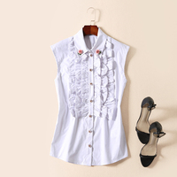 RED ROOSAROSEE New High End European And American Fashion Sleeveless Lapel Rose Bead White Black Shirt