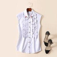 RED ROOSAROSEE New High End European And American Fashion Sleeveless Lapel Rose Bead White Black Shirt