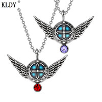 KLDY Punk Stainless nature stone Pendant Angel Wings Protection Shield Magic Powers Charm Red Crystal Pendant Necklace wholesale