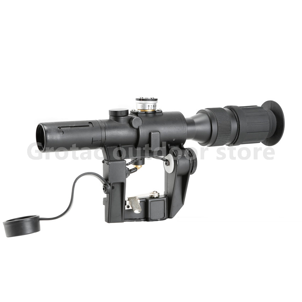 Tactical Red Illuminated 4x24 PSO-1 Type Riflescope for Dragonov SVD Sniper Rifle Series AK Rifle Scope for Hunting red illuminated 4x24 pso 1 type scope for dragonov svd sniper rifle series ak riflescope hunting trail rifle scopes