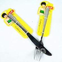0 Senior thickening stainless steel knife and fork kit laser flower Large fork dinner knife steak tableware