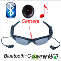 Deporte gafas de sol cámara eyewear de los vidrios de soporte de bluetooth inalámbrico tf tarjeta grabadora de vídeo dvr videocámara dv mp3 auricular
