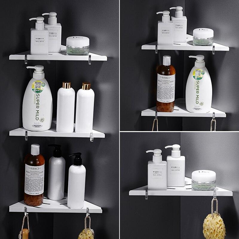 Nail Free Bathroom Shelf Bath Shower Shelf Bath Shampoo Holder Basket Holder White Aluminum Alloy Bathroom Corner Shelf