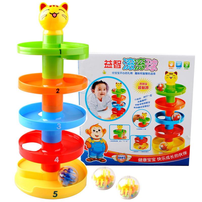 New Baby Toys Tower Puzzle Rolling Ball Bell Stackers Kids