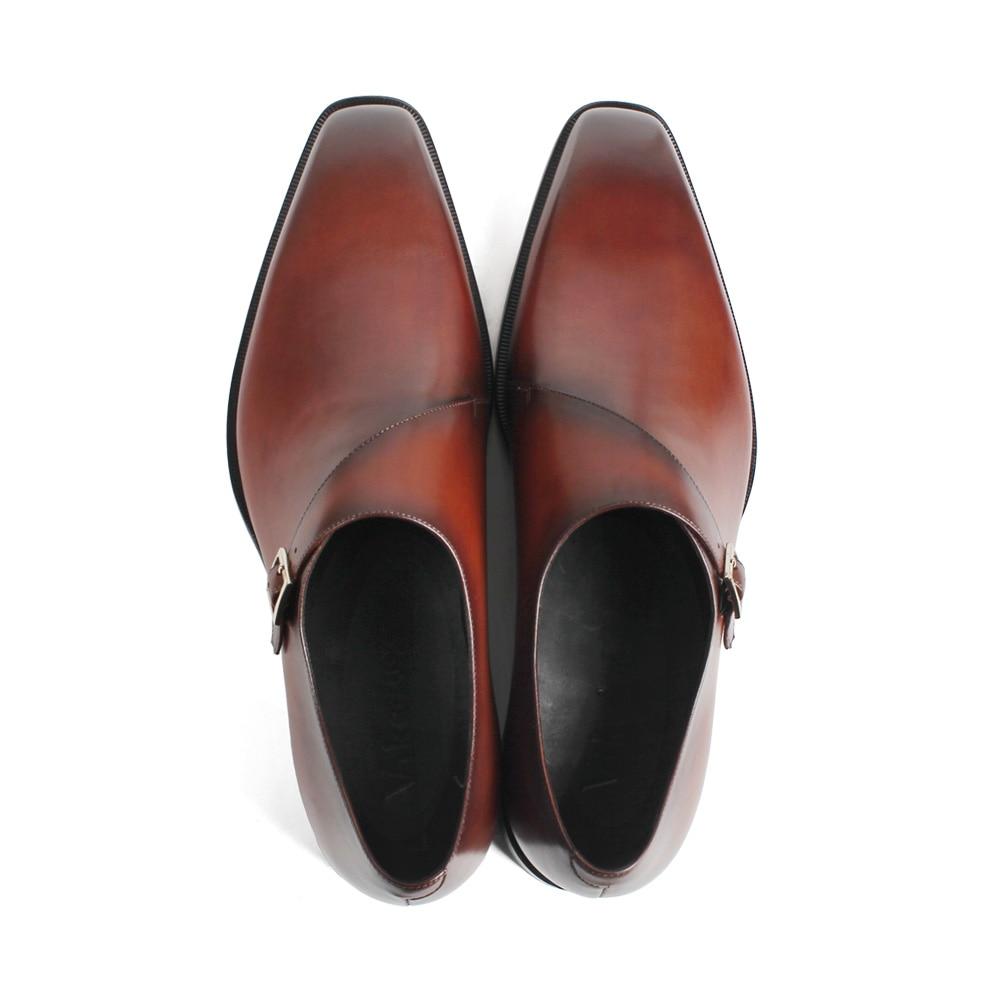 Couro Brown Genuíno Homens De Monge Handmade Casamento Marca Vestir Vikeduo Luxo black Sapato Sapatos Moda Masculino Duplo Brown 2019 Formais Patina Dos 6Oc7vRqA