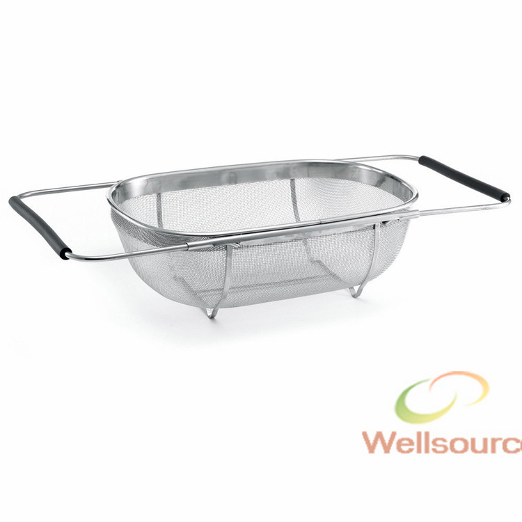 Stainless Steel Sink Strainer with Extending Rubber Grip Arms Over The Sink Oval Colander with Fine