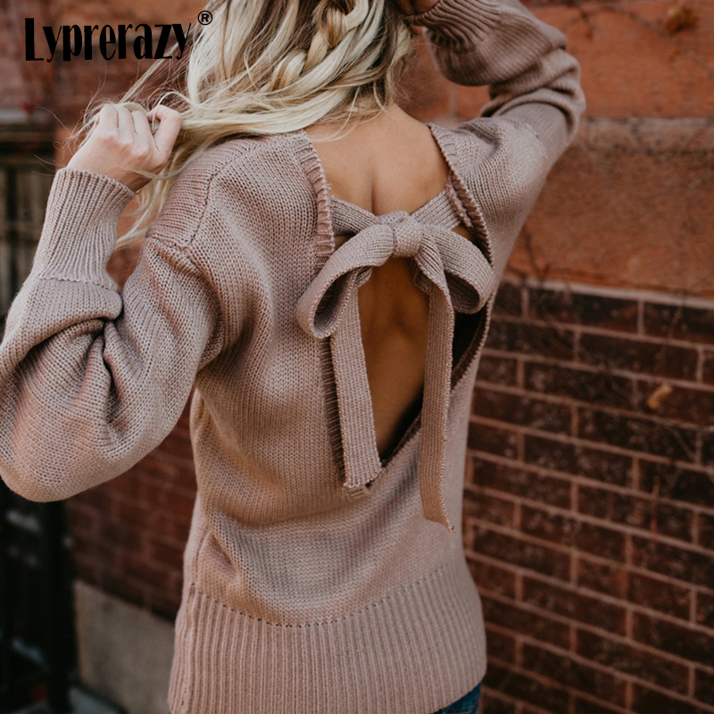 Lyprerazy Womens O-neck Backless Sweaters Long Sleeve Cross Tie Knot Sexy Knitted Tops Short Knitting Pullovers Jumpers