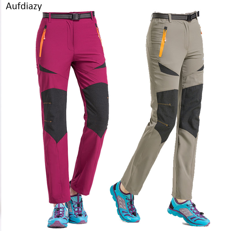 Aufdiazy Summer 4XL Women Quick Dry Hiking Pants Outdoor Waterproof Female Thin Trekking Pants Climbing Camping Trousers JW009
