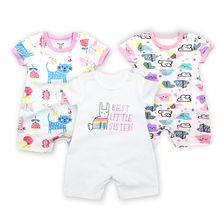 Baby Girls Rompers Summer Fashion Short Sleeve Baby Boy Clothing Toddler Roupas Clothes Newborn Baby Clothes Infant Jumpsuits db7191 dave bella summer baby girls newborn infant toddler jumpsuits children short sleeve printing clothing baby romper