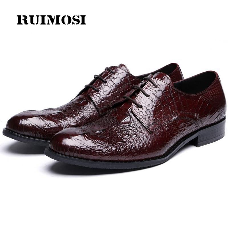RUIMOSI Basic Crocodile Formal Man Bridal Dress Shoes Genuine Leather Wedding Oxfords Brand Round Toe Derby Men's Footwear TH67