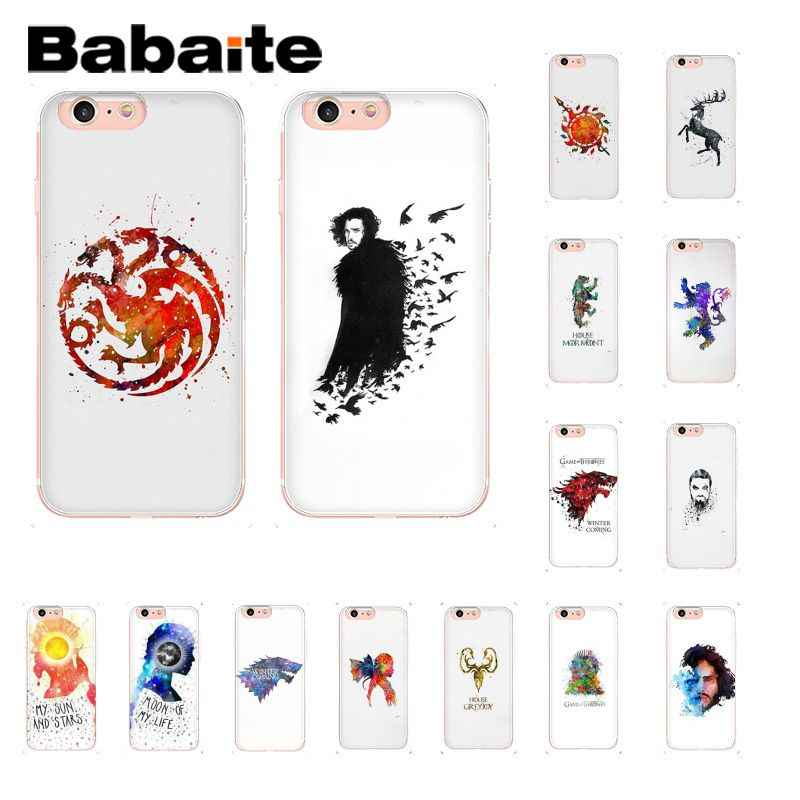 Babaite Watercolor Art Game Of Thrones Jon Snow Coque Shell Phone Case For Iphone 6s 6plus 7 7plus 8 8plus X Xs Max 5 5s Xr 10