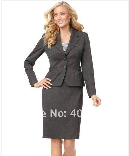 Women Dress Custom Suit Grey Women Suit Long Sleeve Notched Collar