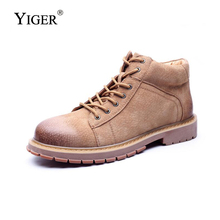 YIGER NEW Man Casual boots Genuine Leather Pigskin sheos Men Lace-up Martin desert tooling 2018 Spring/Antumn 0149