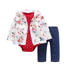 Детский комплект одежды с капюшоном для девочек, одежда унисекс для малышей на осень и зиму, пальто с цветочным принтом+ комбинезон в горошек+ штаны, 3 предмета, Одежда для новорожденных