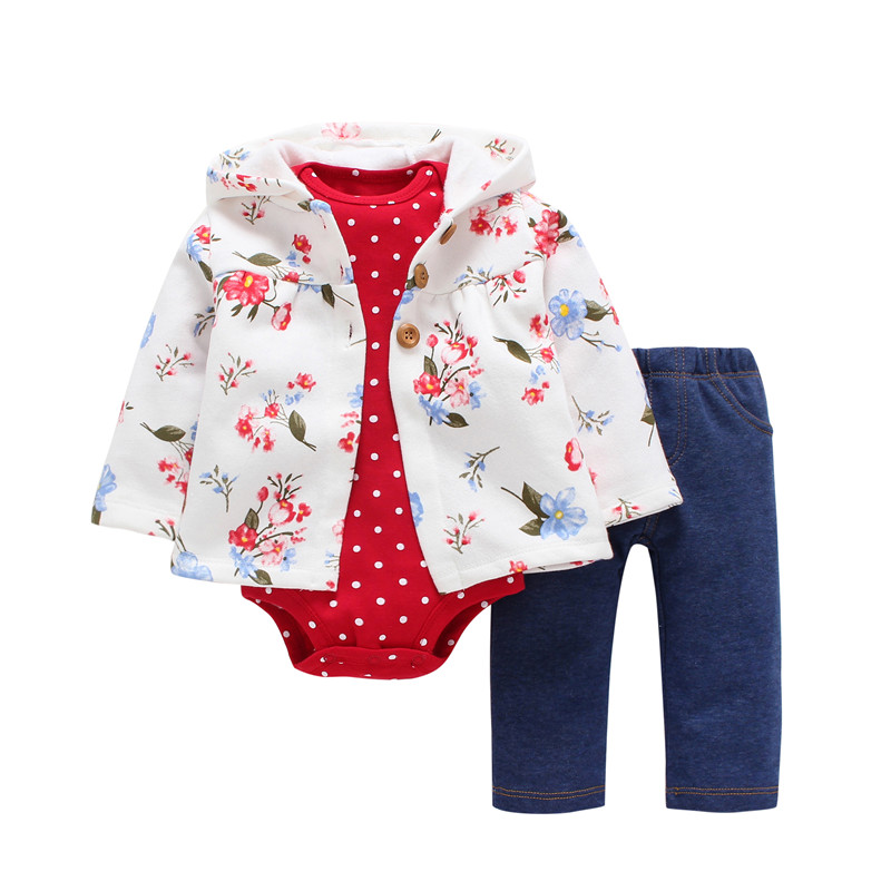 Kid Girl Hooded Clothing Set,unisex Toddler Baby Outfit Autumn Winter,floral Coat+rompers Dot+pant,3PCS NEW BORN CLOHTES