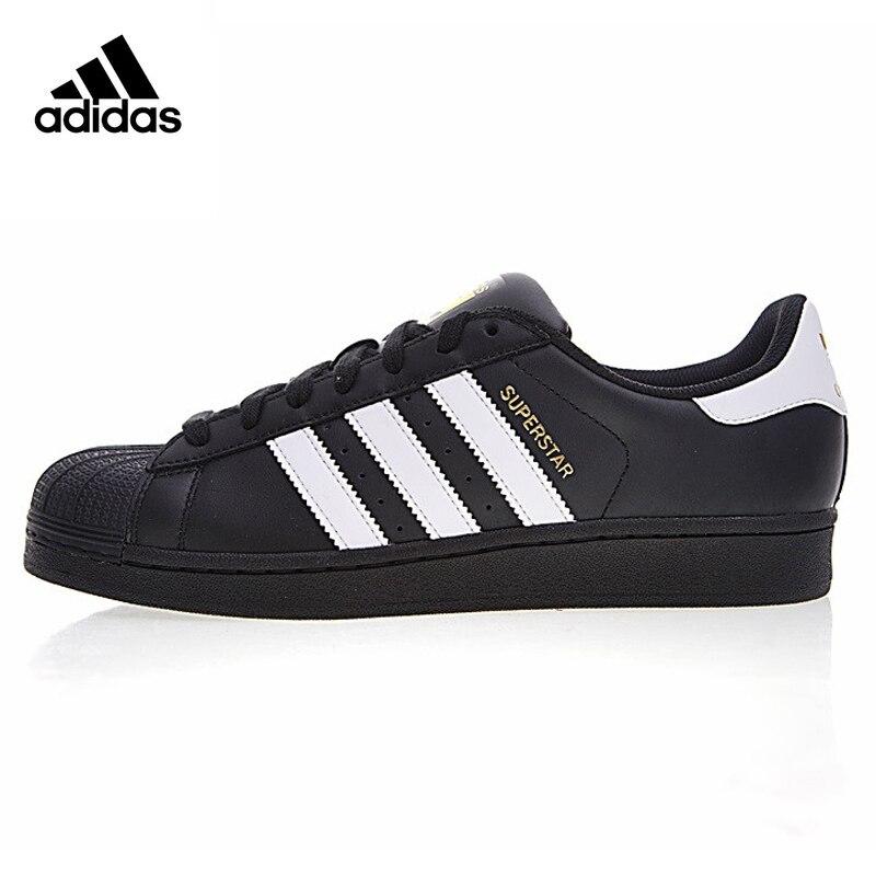 Adidas Trèfle SUPERSTAR Or Étiquette Shell Tête des Hommes et Femmes Marchant Chaussures, Noir, non-slip Résistant À L'usure Équilibre B27140