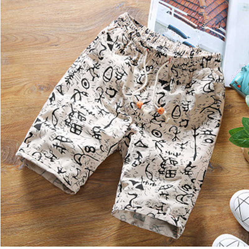 Chinese Vintage Letter Printed   Shorts   Elastic Waist Linen   Board     Shorts   Men Printed Summer