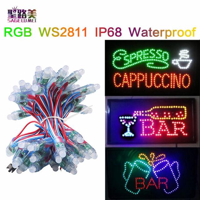 12mm 0.3/W Endereçável WS2811 pixel módulo led full color RGB luzes Cordas DC5V à prova d' água para Os Sinais de Propaganda exibição