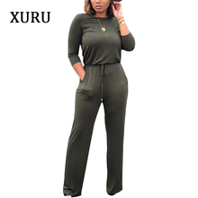 XURU Womens Autumn  Winter Long-sleeved Solid Color Jumpsuit Casual Bandage Ladies