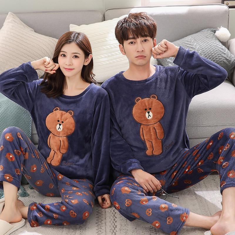Spring Winter Soft Flannel Long Sleeve Couple Lover Sleepwear Pajama Sets Women Pyjamas Suits Cartoon Brown Bear Tracksuit Men