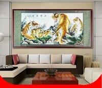 Pintura por Números de Desplazamiento grande/Animal Cinco Tigres Coraje/Home Office pared ilustraciones/Regalos Pintado A Mano Decoración de la Habitación
