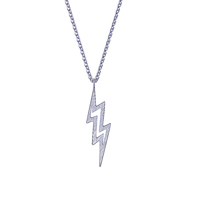 Vintage Gold Lightning Bolt Chunky Necklace Pendant Punk Collier Femme Fashion Jewelry Silver Geometric Women Chains